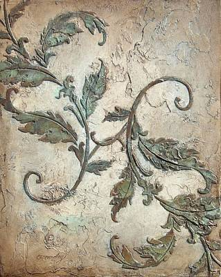 Plaster Painting - Copper Leaves by Chris Brandley