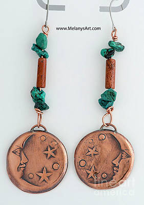 Jewelry - Copper Man In The Moon Earrings by Melany Sarafis