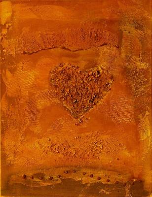 Painting - Copper Paper Heart - Variation by Alexandra Schumann