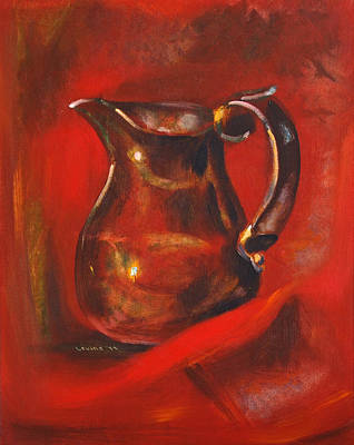 Old Pitcher Painting - Copper Pitcher by Joseph Levine