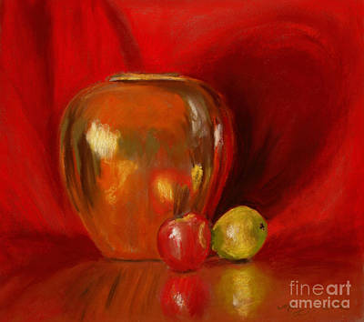 Copper Pot And Fruit Art Print by Mary Benke