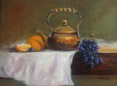 Painting - Copper Pot W/fruit by Anne Barberi