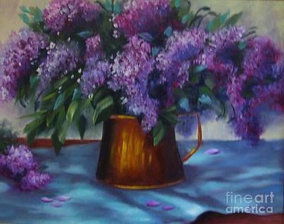 Painting - Copper Pot With Lilacs by Pat Heydlauff