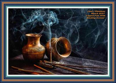 Copper Pots With Smoking Incense L A With Alt. Decorative Ornate Printed Frame. Art Print by Gert J Rheeders