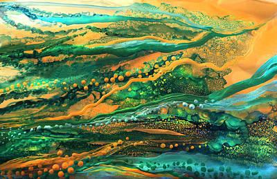 Mixed Media - Copper Sea - Horizontal  by Carol Cavalaris