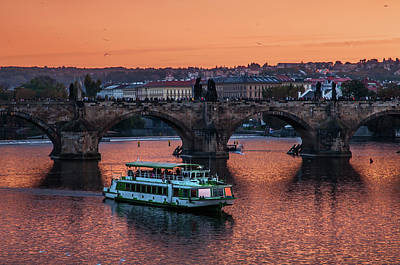 Photograph - Copper Sunset Over Vltava River. Prague by Jenny Rainbow