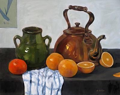 Painting - Copper Teakettle, Green Vase, Oranges, Tangerine, Dishcloth by Robert Holden