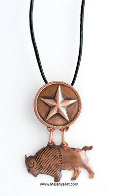 Copper Texas Star And Bison Pendant Necklace Original