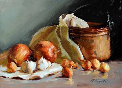 Painting - Copper Vessel And Onions by Viktoria K Majestic