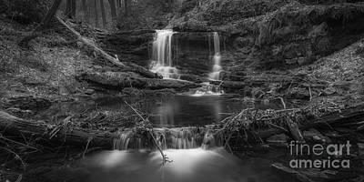 Photograph - Coppermine Trail Falls Pano Bw by Michael Ver Sprill