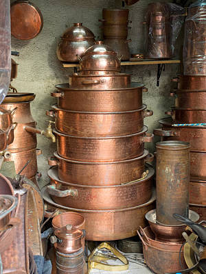 Moroccan Photograph - Copperware For Sale At Place by Panoramic Images