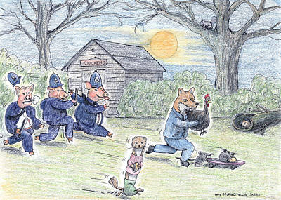 Chicken Shed Drawing - Cops And Robbers by Steve Royce Griffin