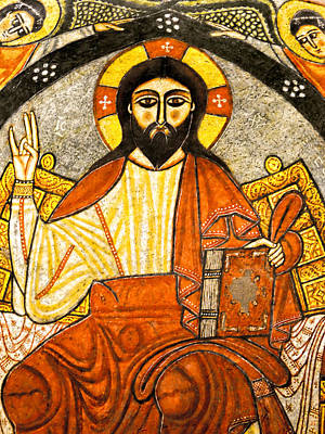 Photograph - Coptic Christ Pantocrator by Nigel Fletcher-Jones
