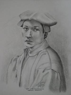 Drawing - Copy After Michelangelo's Andreas Quaratesi by Edward Kovalsky