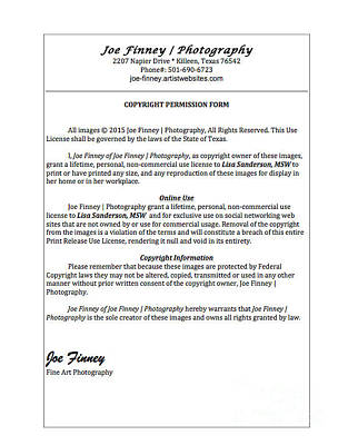 Photograph - Copyright Release by Joe Finney