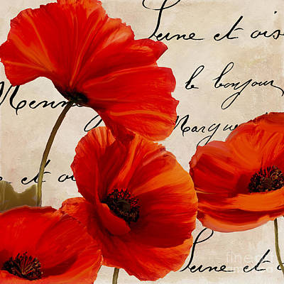 Red Flower Wall Art - Painting - Coquelicots Rouge I by Mindy Sommers