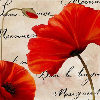 Red Flower Wall Art - Painting - Coquelicots Rouge II by Mindy Sommers