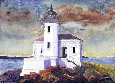 Painting - Coquille Lighthouse Watercolor by Chriss Pagani