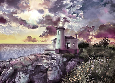 Painting - Coquille River Lighthouse 2 by Bekim Art