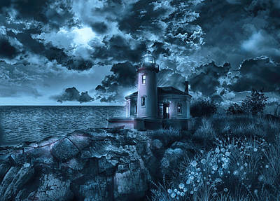 Storm Clouds Painting - Coquille River Lighthouse 3 by Bekim Art