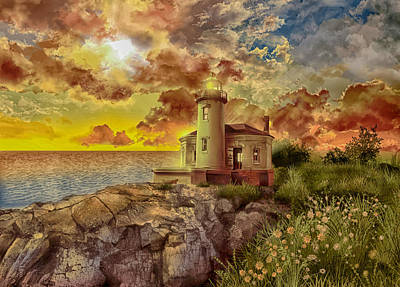 Coquille River Lighthouse Painting - Coquille River Lighthouse 4 by Bekim Art