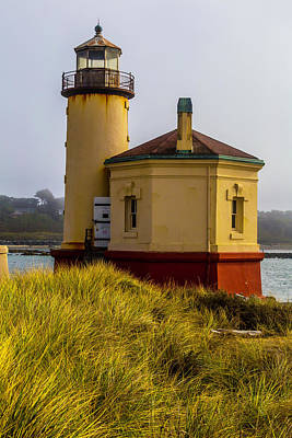 Coquille River Lighthouse Photograph - Coquille River Lighthouse And Dune Grass by Garry Gay