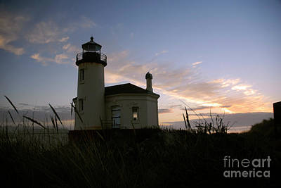 Coquille River Lighthouse At Sunset Art Print