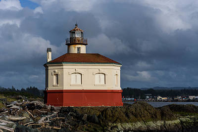 Photograph - Coquille River Lighthouse Dark Clouds by Robert Potts