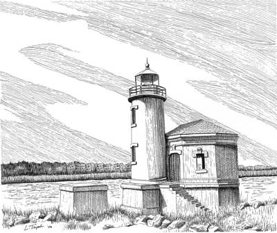 Drawing - Coquille River Lighthouse by Lawrence Tripoli