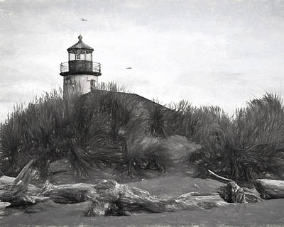 Coquille River Lighthouse Oregon Black And White Giclee Art Print Art Print