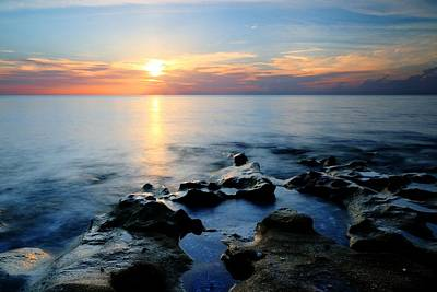 Photograph - Coquina Rock Sunrise by Carol Montoya