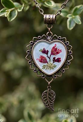 Coral Bell Pressed Flower Pendant Art Print