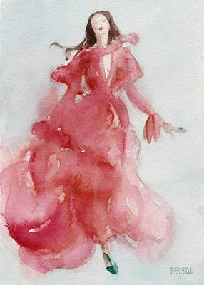 Abstract Fashion Designer Art Painting - Coral Evening Dress by Beverly Brown Prints
