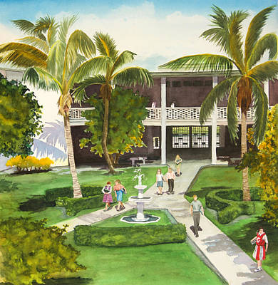 Wall Art - Painting - Coral Gables High School Circa 1966 by Terry Arroyo Mulrooney