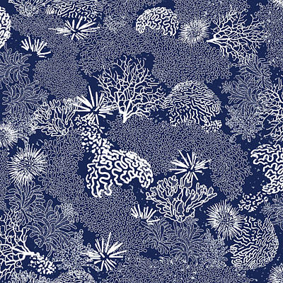 Digital Art - Coral Garden Indigo And White by Karen Dyson
