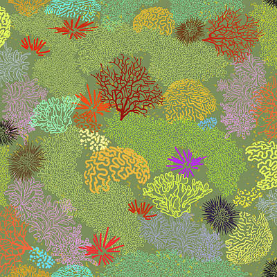 Digital Art - Coral Garden Olive Multi by Karen Dyson