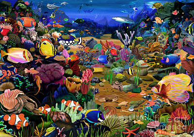 Tropical Fish Digital Art - Coral Reef by Gerald Newton
