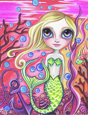 Hamptons Painting - Coral Reef Mermaid by Jaz Higgins