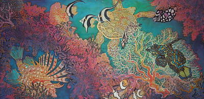 Anglefishes Painting - Coral Reef Playground by Annelle Woggon