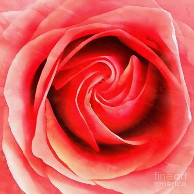 Coral Rose - My Pleasure - Rose Art Print by Janine Riley