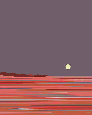Abstract Seascape Digital Art - Coral Sea Moonrise by Val Arie