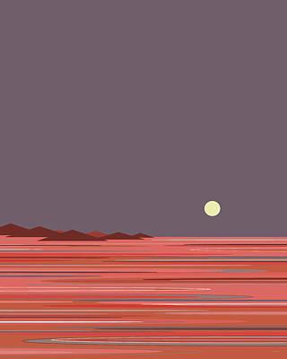 Digital Art - Coral Sea Moonrise by Val Arie