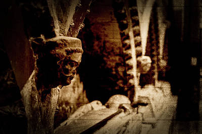 Photograph - Corbel Heads In Sepia by Jacek Wojnarowski