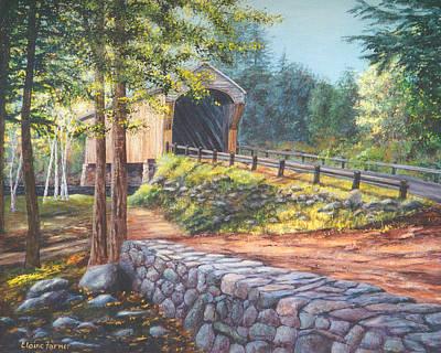 Covered Bridge Painting - Corbin Covered Bridge #17 Newport, Nh by Elaine Farmer