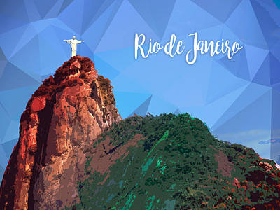 Christ The Redeemer Painting - Corcovado Mountain With Christ The Redeemer Statue In Rio De Janeiro Brazil Text Rio De Janeiro by Elaine Plesser