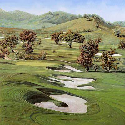 Wood Painting - Cordevalle Golf Course by Guido Borelli
