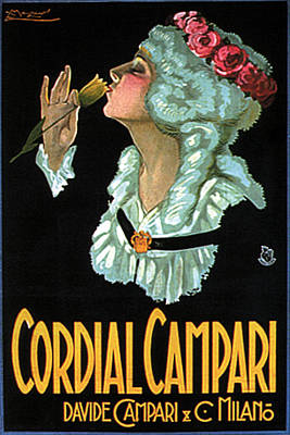 Mixed Media - Cordial Campari - Sipping From A Yellow Flower - Vintage Advertising Poster by Studio Grafiikka