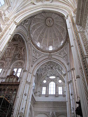 Photograph - Cordoba Cathedral Ancient Ornate Ceiling II Spain by John Shiron