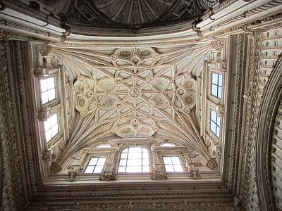 Photograph - Cordoba Cathedral Ancient Ornate Ceiling IIi Spain by John Shiron