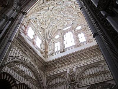 Photograph - Cordoba Cathedral Ancient Ornate Ceiling Iv Spain by John Shiron